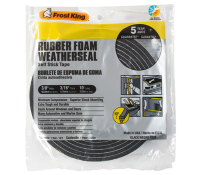 Thermwell R338H Frost King 3/16 Inch By 3/8 Inch By 10 Foot Black Rubber Foam With Self Stick Tape