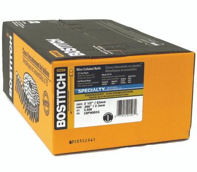 Stanley Bostitch C8P90BDG 2-1/2 Inch By 0.092 Smooth Shank 15 Degree Coil Siding Nails (Pack Of 3600)