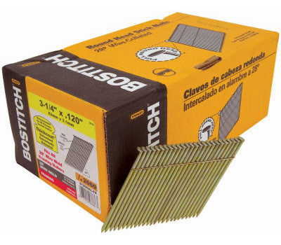 Stanley Bostitch S10DGAL-FH 3 Inch By 0.120 Galvanized Smooth Shank 28 Degree Wire Collated Stick Framing Nails (Pack Of 2000)