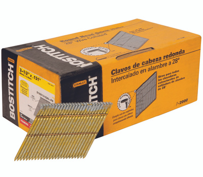 Stanley Bostitch S16D131GAL-FH 3-1/4 Inch By 0.131 Galvanized Smooth Shank 28 Degree Wire Collated Stick Framing Nails (Pack Of 2000)