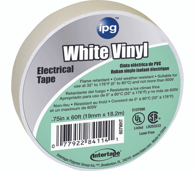 Intertape Polymer 85828 3/4X60ft White Vinyl Elec Tape