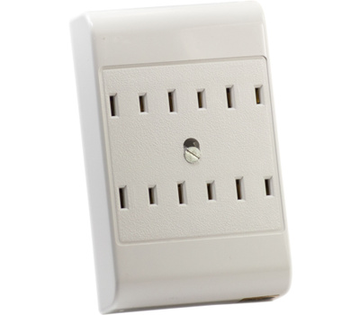 Leviton C22-49687-00W White 6 Outlet 2 Wire Adapter