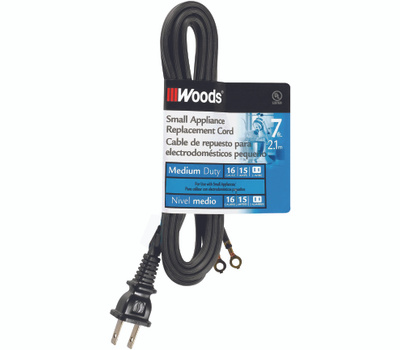 Coleman Cable 0288 7 Foot HPN Replacement Cord For Non Polarized Appliances 16/2 Black