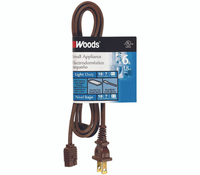 Coleman Cable 0295 6 Foot Small Appliance Cord Brown
