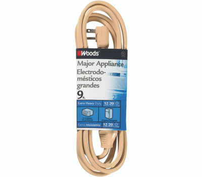 Coleman Cable 0568 250 Volt 20 Amp 12-3 Beige Air Conditioner Extension Cord 9 Foot