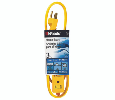 Coleman Cable 0863 14/3 By 3 Foot 3 Outlet Power Indoor Extension Cord
