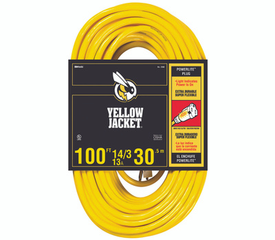 Southwire 2888 Yellow Jacket 14/3 By 100 Foot 13 Amp Heavy Duty Extension Cord