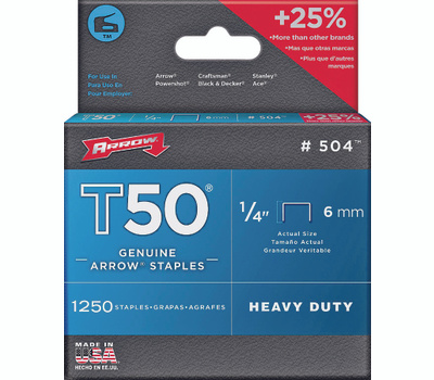 Arrow Fastener 50424 / 504 1/4 Inch T50 Staples