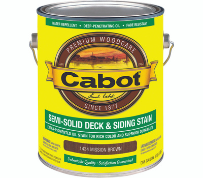 Cabot 1434 Stain Semi Solid Oil Mission Brown Gallon