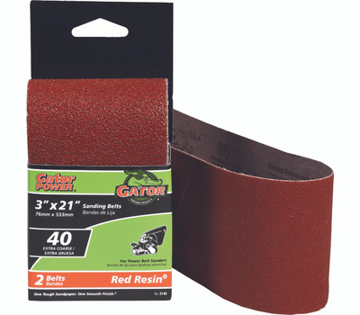 Ali 3148 Gator 3 By 21 Inch Professional Aluminum Oxide Sanding Belt 40 Grit Extra Course 2 Pack