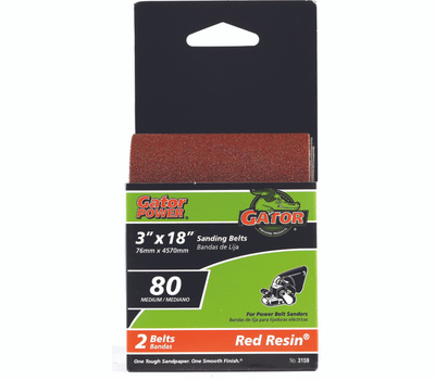 Ali 3159 Gator 3 By 18 Inch Professional Aluminum Oxide Sanding Belt 80 Grit Medium 2 Pack