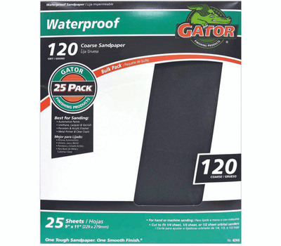 Ali 4244 Gator 9 By 11 Inch Waterproof Sandpaper 120 Grit Silicon Carbide