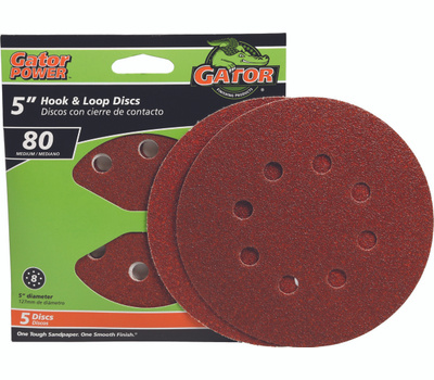 Ali 3784 Gator 5 Inch 5 Hole Hook And Loop Aluminum Oxide Sanding Discs 80 Grit Coarse 5 Pack