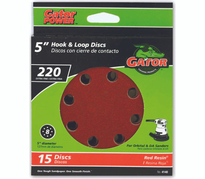 Ali 4140 Gator 5 Inch 8 Hole Hook And Loop Aluminum Oxide Sanding Discs 220 Grit Very Fine 15 Pack