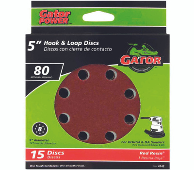 Ali 4142 Gator 5 Inch 8 Hole Hook And Loop Aluminum Oxide Sanding Discs 80 Grit Coarse 15 Pack