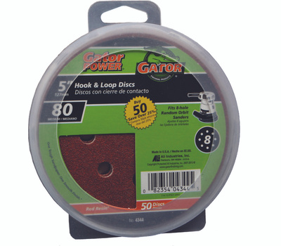 Ali 4344 Gator 5 Inch 8 Hole Hook And Loop Aluminum Oxide Sanding Discs 80 Grit Coarse 50 Pack