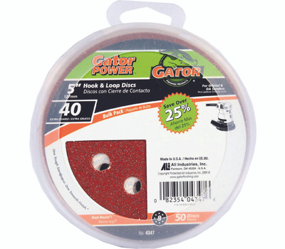 Ali 4347 Gator 5 Inch 8 Hole Hook And Loop Aluminum Oxide Sanding Discs 40 Grit Extra Coarse 50 Pack