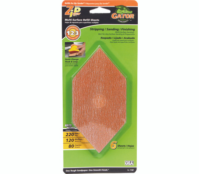 Ali 7187 Gator Zip Sander Refill Sanding Sheets Hook And Loop Assorted Grits Aluminum Oxide 6 Sheets