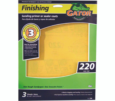 Ali 7266 Gator 9 By 11 Inch Premium Sandpaper 220 Grit Aluminum Oxide 3 Sheets