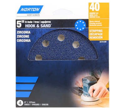 Ali 50160-038 Norton 5 Inch 8 Hole Hook And Loop Ceramic Sanding Discs 40 Grit Extra Coarse 3 Pack
