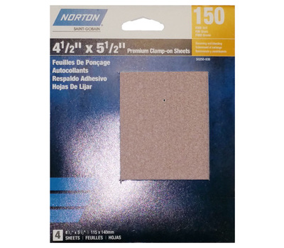 Ali 50250-038 Norton 4-1/2 By 5-1/2 Inch Premium Sanding Sheet Clamp On 150 Grit 4 Pack