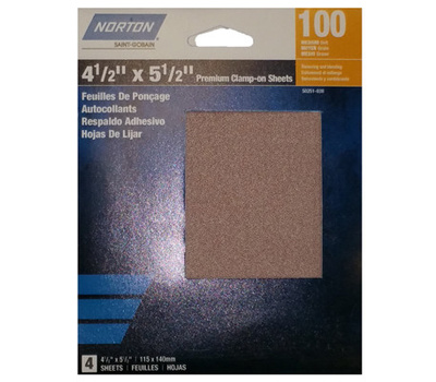 Ali 50251-038 Norton 4-1/2 By 5-1/2 Inch Premium Sanding Sheet Clamp On 100 Grit 4 Pack