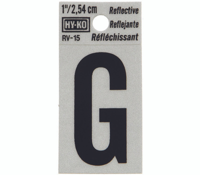 Hy Ko RV-15/G RV Series 1-1/4 Inch Black On 1-1/2 Inch Silver Reflective Vinyl Letter G