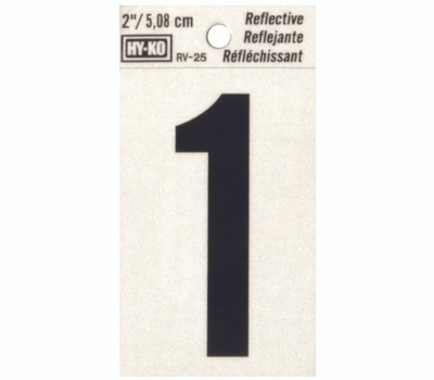 Hy Ko RV-25/1 RV Series 2 Inch Bend And Peel Black On Silver Reflective Vinyl Number 1