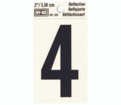 Hy Ko RV-25/4 RV Series 2 Inch Bend And Peel Black On Silver Reflective Vinyl Number 4
