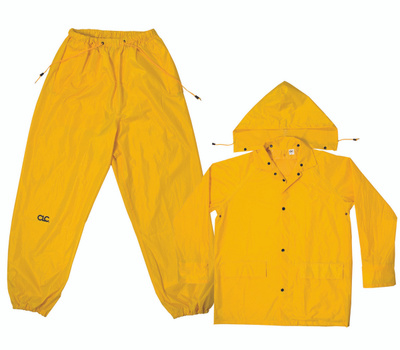 Custom Leathercraft R102L Climate Gear 3 Piece Rain Suit Yellow Polyester Large