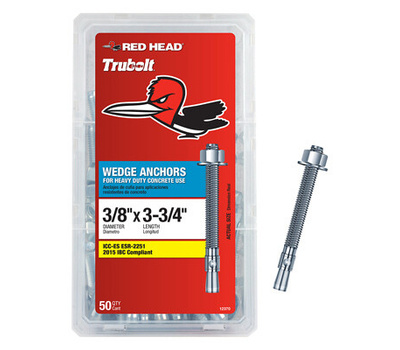 ITW Red Head 12370 Wedge Anchor 3/8 By 3 3/4 50 Pack