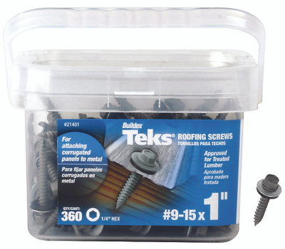 ITW Buildex 21401 Teks Drill Point Roofing Screws #9 By 1 Inch Metal To Wood Neoprene Washer 360 Pack