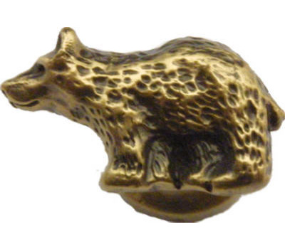 Sierra Lifestyles SL-681305 Rustic Lodge Collection Bear Facing Left Cabinet Knob Antique Brass
