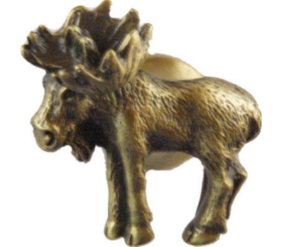 Sierra Lifestyles SL-681345 Rustic Lodge Collection Moose Realistic Cabinet Knob Looking Left Antique Brass