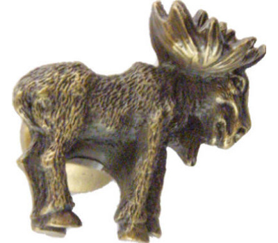 Sierra Lifestyles SL-681376 Rustic Lodge Collection Moose Realistic Cabinet Knob Looking Right Antique Brass