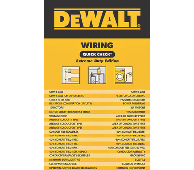 Cengage Learning 9781111128753 DeWalt Quick Check Wiring Guide Extreme Duty Edition Spiral Version