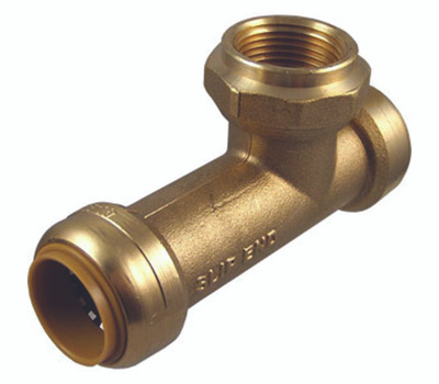 Cash Acme U3486LFA Slip Tee Push Connect Fitting Brass 3/4 By 3/4 By 3/4 Inch