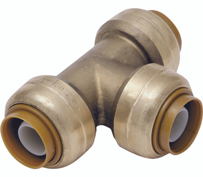 Cash Acme U444LFA Sharkbite Tee Pp Dzr Brass 3/4X1/2X3/4In
