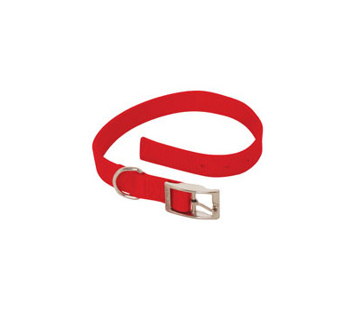 Petmate 21326 Collar Nylon Double 1 By 22 Inch Red