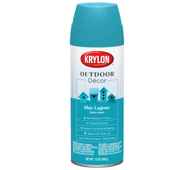 Krylon K09336000 Outdoor Decor Spray Paint Satin Blue Lagoon 12 Ounce