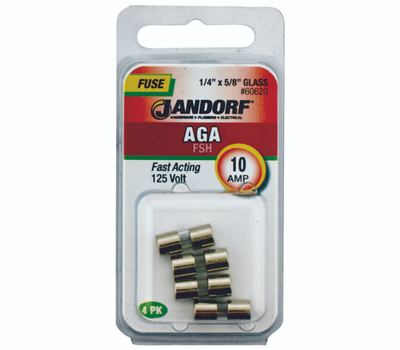 Jandorf 60620 10 Amp AGA Fast Acting Glass Fuses 4 Pack