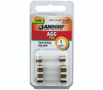 Jandorf 60626 1 Amp AGC Fast Acting Glass Fuses 4 Pack