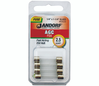 Jandorf 60629 2-1/2 Amp AGC Fast Acting Glass Fuses 4 Pack