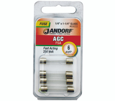 Jandorf 60633 6 Amp AGC Fast Acting Glass Fuses 4 Pack