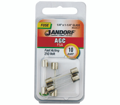 Jandorf 60637 10 Amp AGC Fast Acting Glass Fuses 4 Pack
