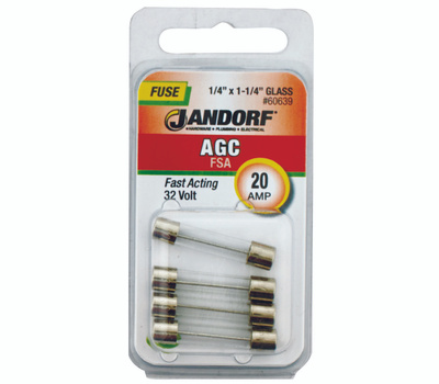 Jandorf 60639 20 Amp AGC Fast Acting Glass Fuses 4 Pack
