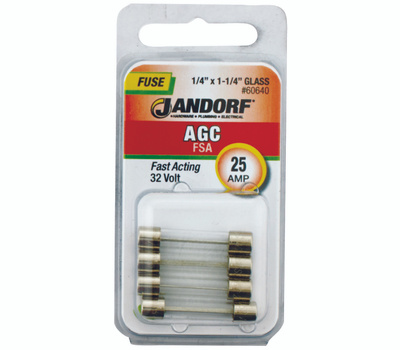Jandorf 60640 25 Amp AGC Fast Acting Glass Fuses 4 Pack