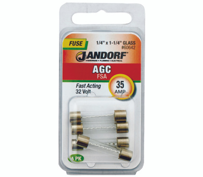 Jandorf 60642 35 Amp AGC Fast Acting Glass Fuses 4 Pack