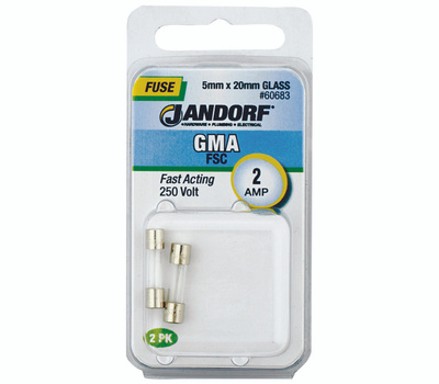 Jandorf 60683 2 Amp GMA Fast Acting Glass Fuses 2 Pack
