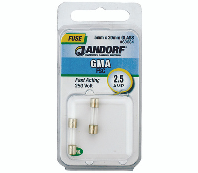 Jandorf 60684 2-1/2 Amp GMA Fast Acting Glass Fuses 2 Pack